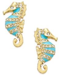 Kate Spade New York 14K Gold Plated Pave And Blue Enamel Seahorse Stud Earrings