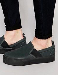 Asos Slip On Plimsolls In Black With Elastic And Thick Sole Black
