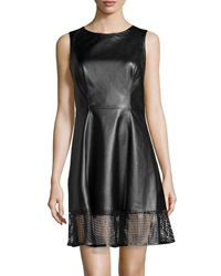 Vakko Faux Leather Perforated Hem Dress Xs