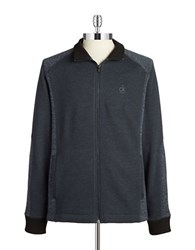 Calvin Klein Jeans Heathered Zip Front Cardigan Blue