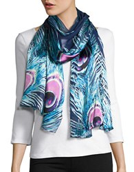 Collection 18 Peacock Feather Silk Scarf Blue