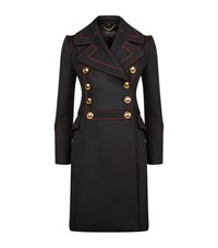Burberry London Contrast Topstitch Military Coat Female Navy
