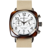 Briston Clubmaster Chronograph Watch White Tortoise And Khaki