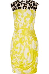 Issa Oralee Printed Stretch Jersey Mini Dress Bright Yellow