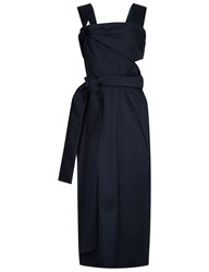 3.1 Phillip Lim Navy Satin Knotted Sleeveless Dress Blue