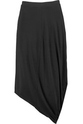 Dkny Draped Stretch Jersey Midi Skirt Black