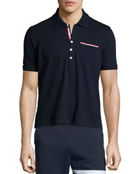 Thom Browne Printed Short Sleeve Pique Polo Shirt Navy Men's