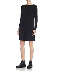 Eileen Fisher Boat Neck Knit Shift Dress Black