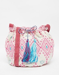 Pieces Tapestry Drawstring Duffle Bag Pink