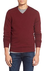 1901 V Neck Wool And Cotton Sweater Red Oxblood