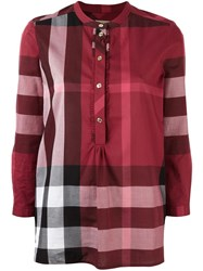 Burberry Plaid Tunic Blouse Red