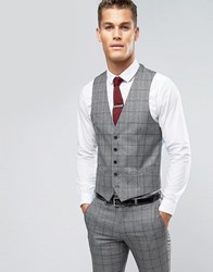 Rudie Slim Fit Waistcoat In Prince Of Wales Check Black