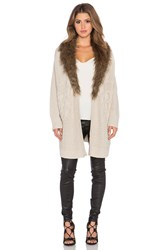 Heartloom Velma Sweater With Faux Fur Collar Beige