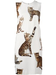 Dolce And Gabbana Bengal Cat Print Dress White