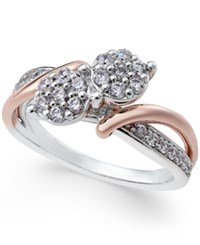 Macy's Diamond Two Tone Ring 1 2 Ct. T.W. In 14K White And Rose Gold Two Tone