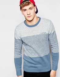 Firetrap Stripe Knit Jumper Blue