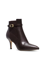Michael Michael Kors Woods Leather Ankle Booties Dark Chocolate