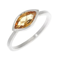 Rhiannon Lewis Jewellery Silver Marquise Citrine Ring Gold Silver Yellow