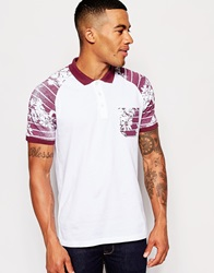 Asos Polo Shirt With Burgundy Floral Print Sleeve And Pocket White