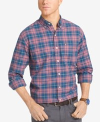 Izod Men's Plaid Long Sleeve Shirt Dark Blue