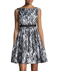 Jax Printed Fit And Flare Sleeveless Dress Black Ivory