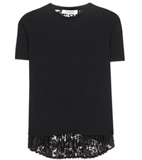 Valentino Lace And Knit Top Black
