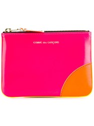 Comme Des Garcons Block Colour Zipped Wallet Yellow Orange