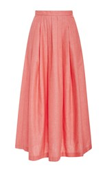 Christine Alcalay Solid Cotton Oxford Skirt Pink