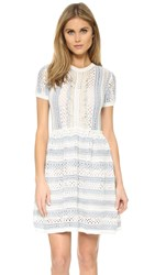 Red Valentino Knit Short Sleeve Dress White Blue