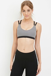 Forever 21 Medium Impact Striped Cage Back Sports Bra Black Grey