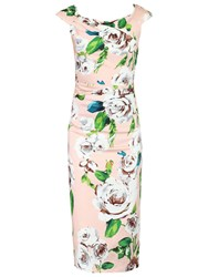 Jolie Moi Floral Retro Floral Print Wiggle Dress Pink