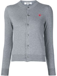 Comme Des Gara Ons Play Embroidered Heart Cardigan Grey