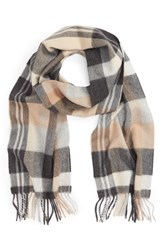 Nordstrom Women's Plaid Cashmere Scarf Neutral Dark Combo