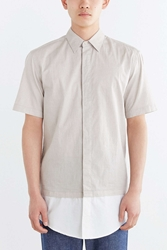 Shades Of Grey By Micah Cohen Double Layer Button Down Shirt Taupe