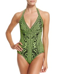 Herve Leger Printed V Neck One Piece Swimsuit Zest Combo
