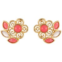 Susan Caplan Vintage 1980S Trifari Gold Plated Lucite Cabochon Flower Clip On Earrings Pink Gold