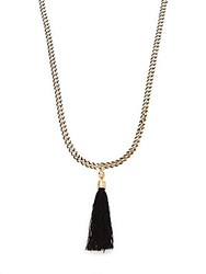 Natasha Tassel Pendant Necklace Black Gold
