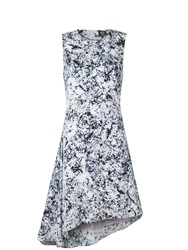 Mcq By Alexander Mcqueen Mcq Alexander Mcqueen Marble Print Pleat Drape Dress Grey White Grey White