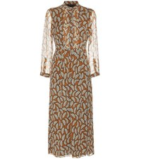 Burberry Carla Printed Pleated Silk Dress Brown
