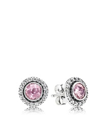 Pandora Design Pandora Stud Earrings Sterling Silver And Cubic Zirconia Brilliant Legacy Silver Pink