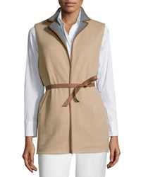 Loro Piana Brett Belted Leather Trimmed Vest Golden Shade
