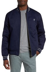 Fred Perry Men's Cotton Bomber Jacket Carbon Blue