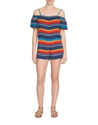 1.State Striped Cold Shoulder Romper Military Navy Multi