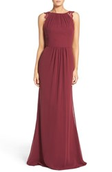 Hayley Paige Occasions Women's Lace Strap Gathered Chiffon Gown Burgundy Burgundy