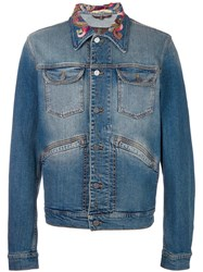 Roberto Cavalli Embroidered Collar Denim Jacket Blue