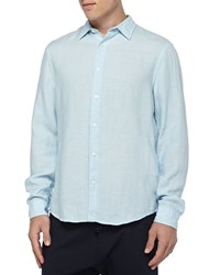 Vince Linen Button Down Shirt Light Blue