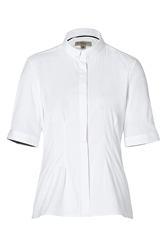 Burberry Cotton Blend Pintuck Detail Shirt In White