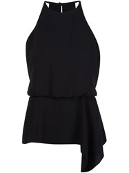 Halston Heritage Sleeveless Draped Blouse Black