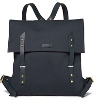 Miansai Leather Trimmed Canvas Backpack Blue