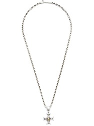 Roman Paul Cross Pendant Chain Necklace Metallic